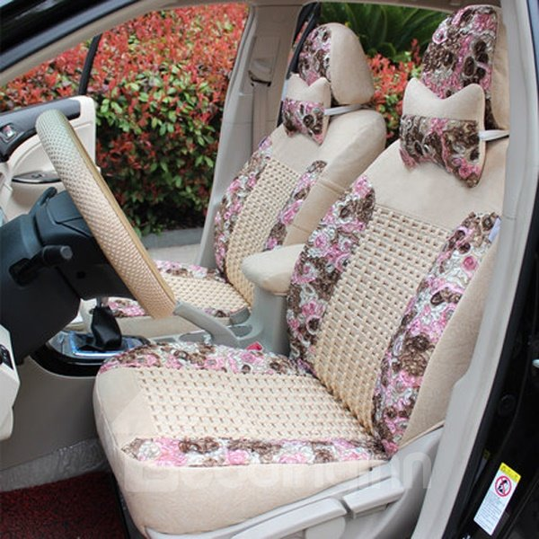 Elegant Floral Patterns Princess Style Universal Fit Car Seat Covers