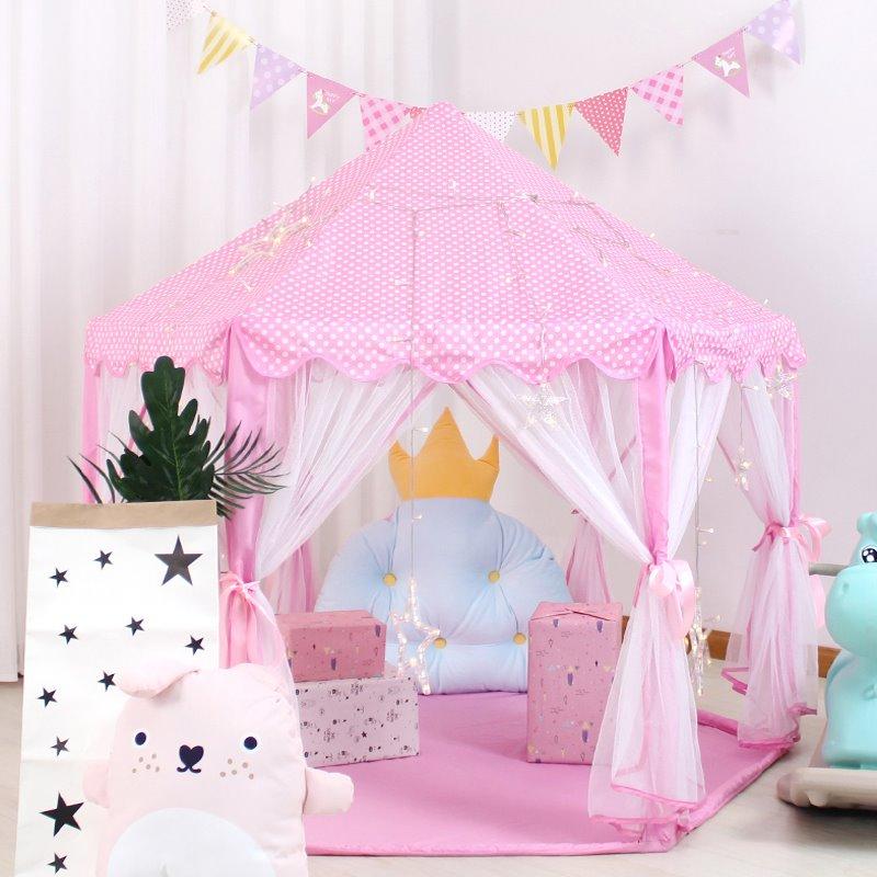 Large Pink Polka Dots Anti-Mosquito Princess Tent