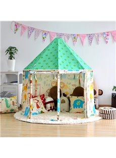 Cute Animals Green Hex-angular Cotton Cloth Kids Indoor Tent