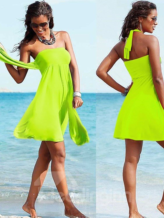 Solid Color Beach Dress One-piece Simple Swimwear