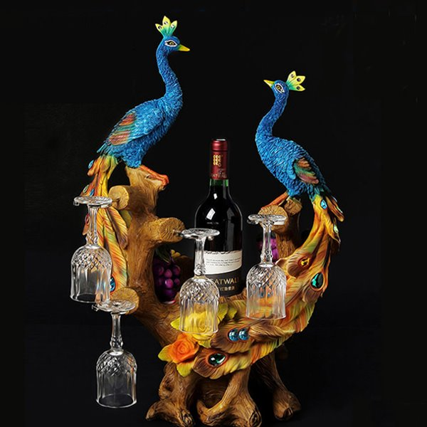 Beautiful Peacock Wine Rack Bottle Holders Pic