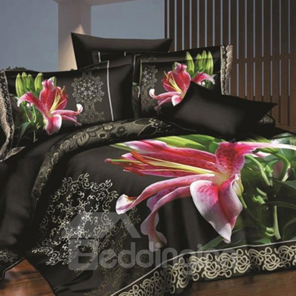 Vivid Lovely Pink Lily Print 4-Piece Polyester 3D Bed Skirt