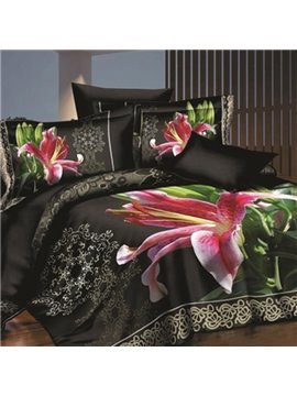 New Arrival Charming Pink Lily Print 4-Piece Polyester 3D Fitted Sheet