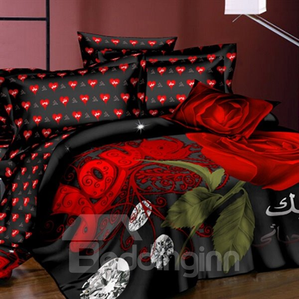 Beautiful Roses and Shining Diamond Printing Polyester 3D Fitted Sheet