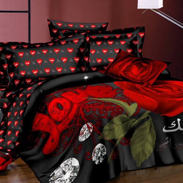 Charming Roses and Shining Diamond Printing Polyester Two Pieces Pillow Case