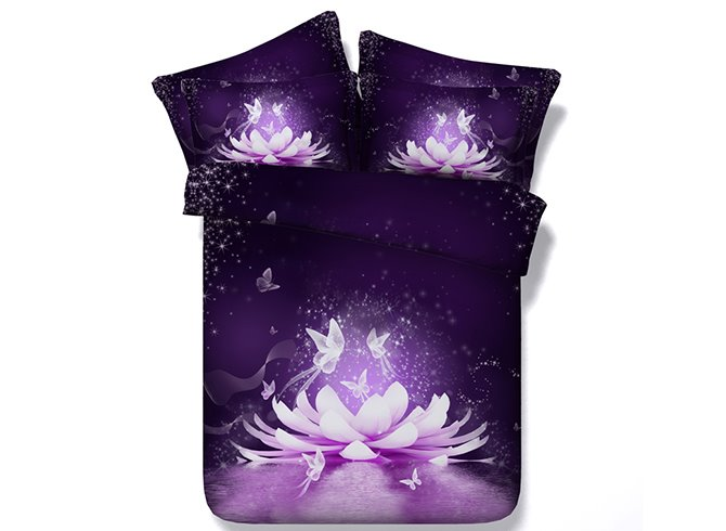 Dreamlike Pink Water Lilly Print 5-Piece Comforter Sets