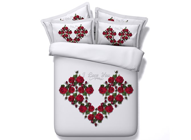 Red Flowers Heart Shape 5-Piece Comforter Sets