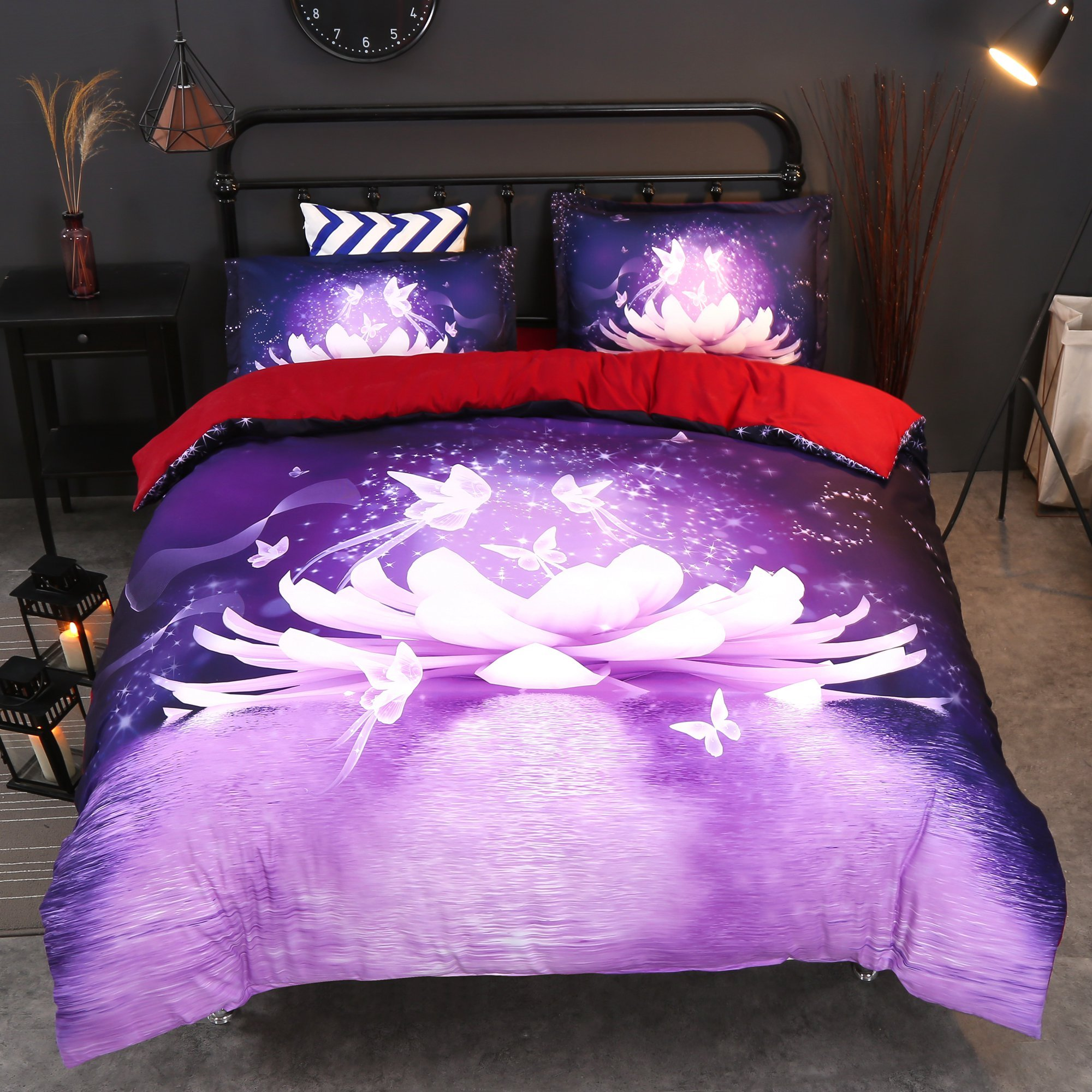 3D Dreamy Lotus and Butterfly Printed Cotton 4-Piece Purple Bedding Sets/Duvet Covers