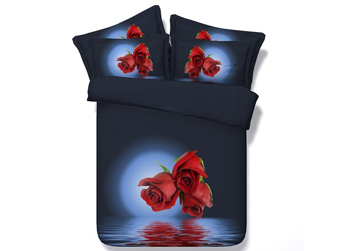 3D Red Roses and Moonlight Printed Cotton 4-Piece Dark Blue Bedding Sets