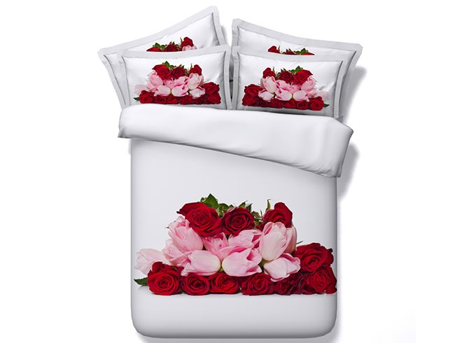 Red Roses and Pink Tulips Printed Cotton 4-Piece 3D Bedding Sets/Duvet Cover