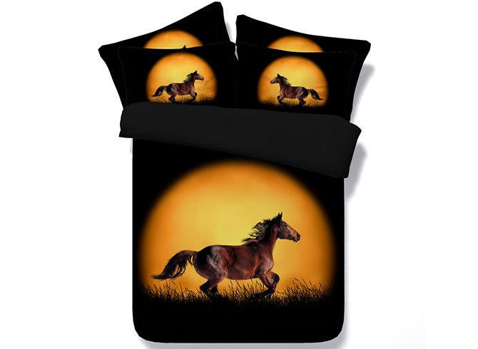 3D Running Horse Printed Cotton 4-Piece Black Bedding Sets/Duvet Covers