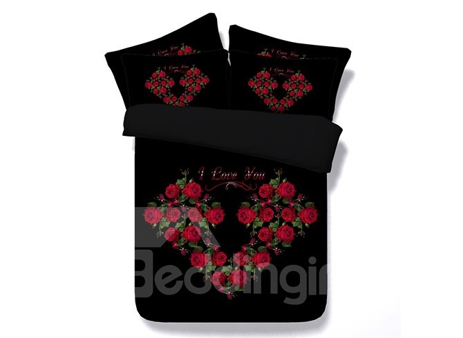 3D Heart-Shaped Red Roses Printed Cotton 4-Piece Black Bedding Sets