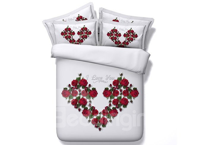 3D Heart-Shaped Red Roses Printed Cotton 4-Piece White Bedding Sets/Duvet Cover