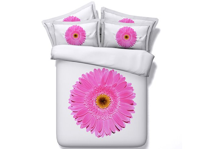 New Arrival Magnificent Pink Daisy Printed 5-Piece Comforter Sets