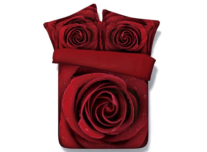 3d Blooming Red Rose Printed 5 Piece Comforter Sets Pic
