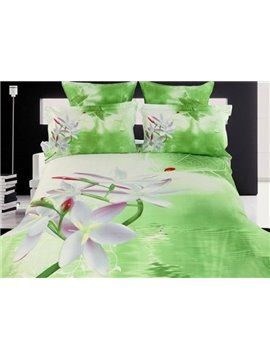 Vivid White Flowers Fresh Green Cotton 4 Pieces Bedding Sets