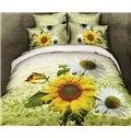 Graceful Pastoral Floral Style Sunflowers Pattern 4-Piece Cotton Duvet Cover Sets