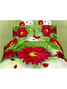 Fabulous Pastoral Style 3D Red Daisy Cotton 4 Pieces Bedding Sets