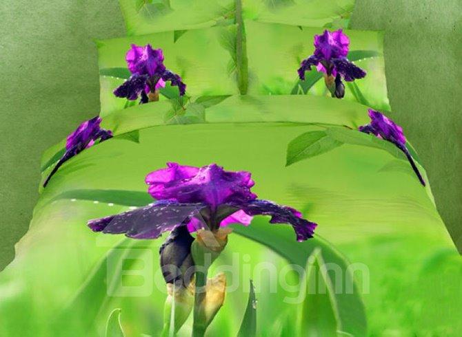 Chic Mysterious Purple Flower Print Cotton 4 Pieces Bedding Sets