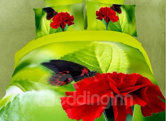 Beautiful Red Carnation and Butterfly 3D Printed 4 Pieces Bedding Sets