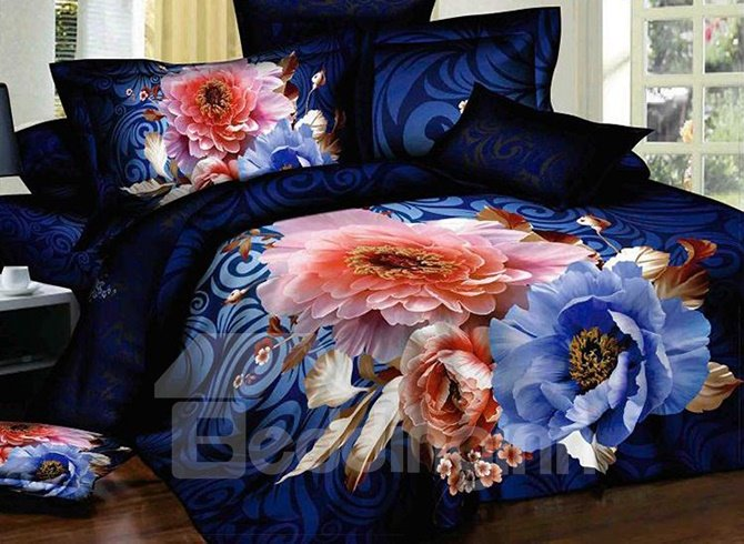 Noble Luxury Blue Flowers Print 3D Bedding Sets