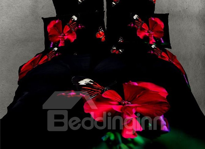 Bright Red Flower and Butterfly Reactive Print 4 Piece Bedding Sets