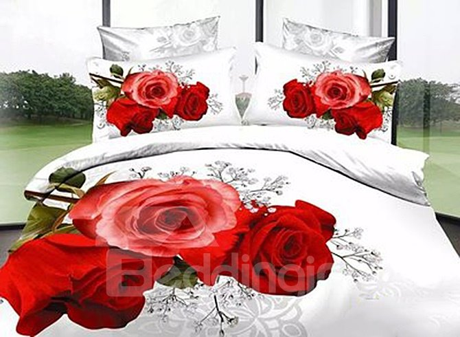 Gorgeous Charming Flowers 3D Printed 4 Pieces Bedding Sets