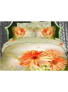 New Chic Fresh Daisies Reactive Print 4 Piece Bedding Sets