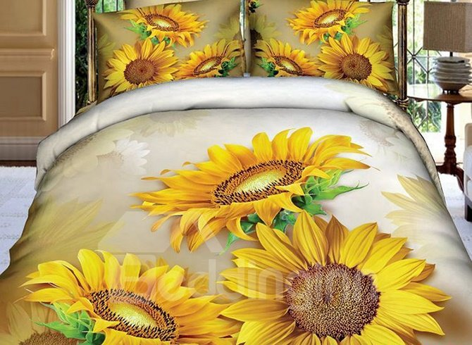 Luxury Charming Sunflowers Print 3D Pure Cotton 4 Pieces Bedding Sets