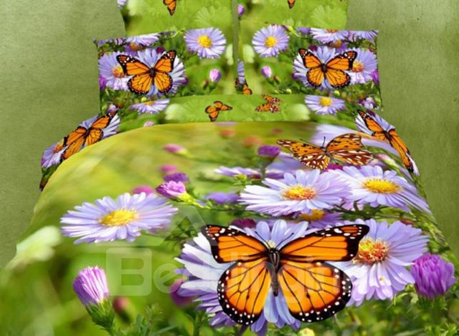 Lovely Purple Daisies and Butterfly 3D Printed 4 Pieces Bedding Sets