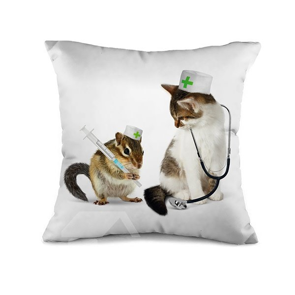 Taking Mouse Nurse and Cat 3D Print Throw Pillow Case