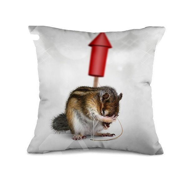 Funny Mouse and Firework Design Throw Pillow Case