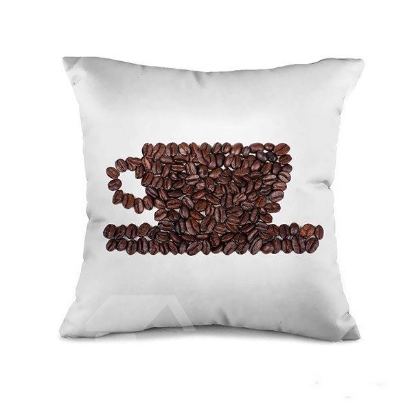 Unique Coffee Bean Cup Design Throw Pillow Case
