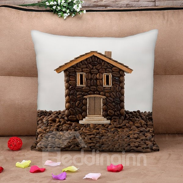 Novelty Creative Design Coffee Bean House Throw Pillow Case