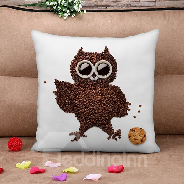 Personalized Cute Owl Coffee Bean 3D Print Throw Pillow Case
