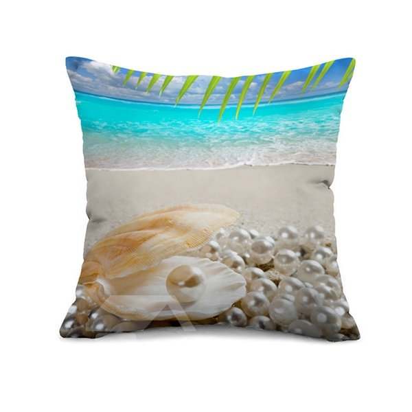 Unique Pearl and Shell On Beach Print Throw Pillow Case