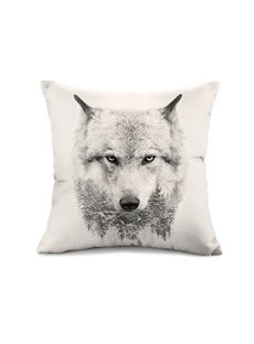 Unique Snow Wolf Print Throw Pillow Case