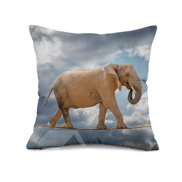 Elephant Wirewalking Design Square Throw Pillow Case