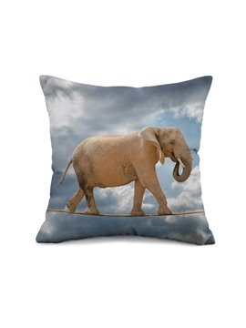 Elephant Wirewalking Design Square Throw Pillow Case