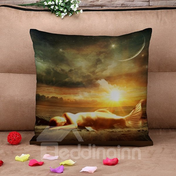 Dreamlike Beautiful Mermaid Design Print Throw Pillow Case