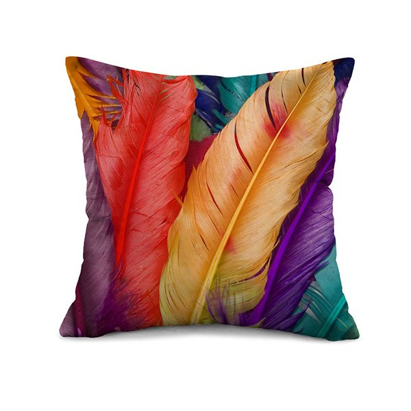 High Class Colorful Feathers Pattern Square Throw Pillow Case