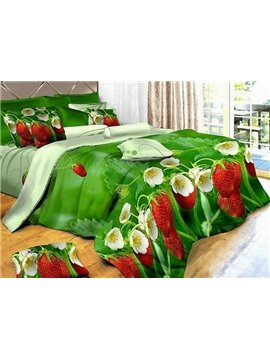 Pastoral Style Fabulous Flowers and Butterfly Print 4 Pieces Bedding Sets