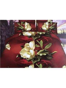 High Class Noble Flowers Print 4-Piece Polyester 3D Duvet Cover