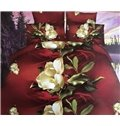 High Class Noble Flowers Print 4-Piece Polyester 3D Duvet Cover