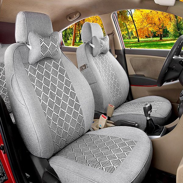 Smooth Ice Silk Surface Classic Grid Patterns Custom Car Seat Cover