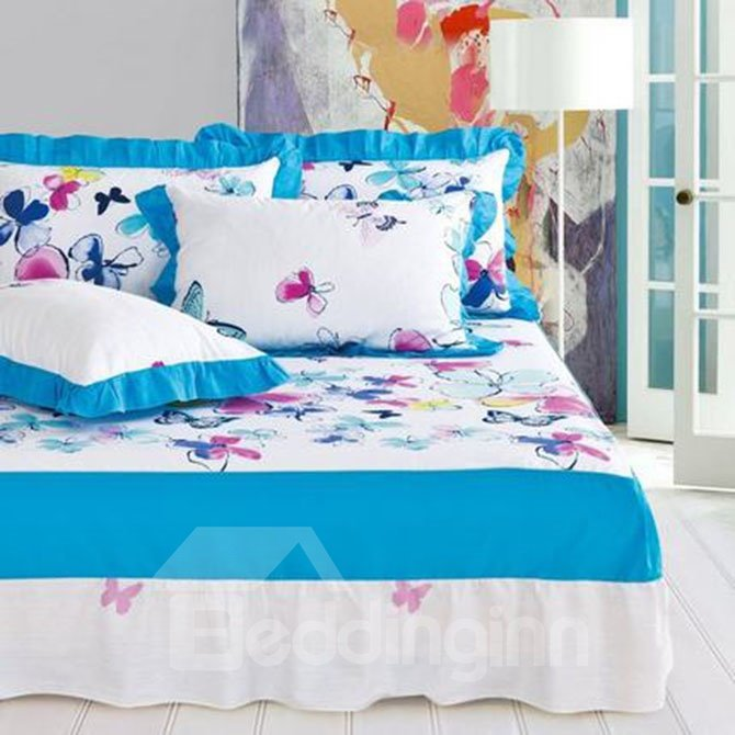 Fresh Pastoral Style Beautiful Butterflies Pattern 4-Piece Duvet Cover Sets