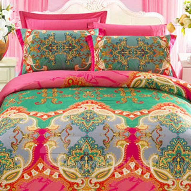 Elegant Retro Big Flowers 4-Piece Cotton Duvet Cover Sets