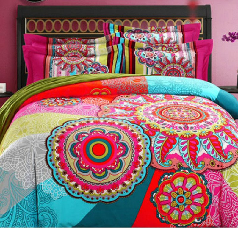 Bohemian Exotic Vintage Boho Style Cotton 4-Piece Bedding Sets/Duvet Cover