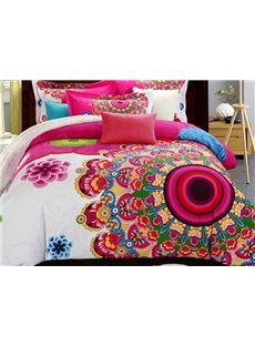 Fancy Graceful Big Flowers Print Pure Cotton 4-Piece Duvet Cover Sets