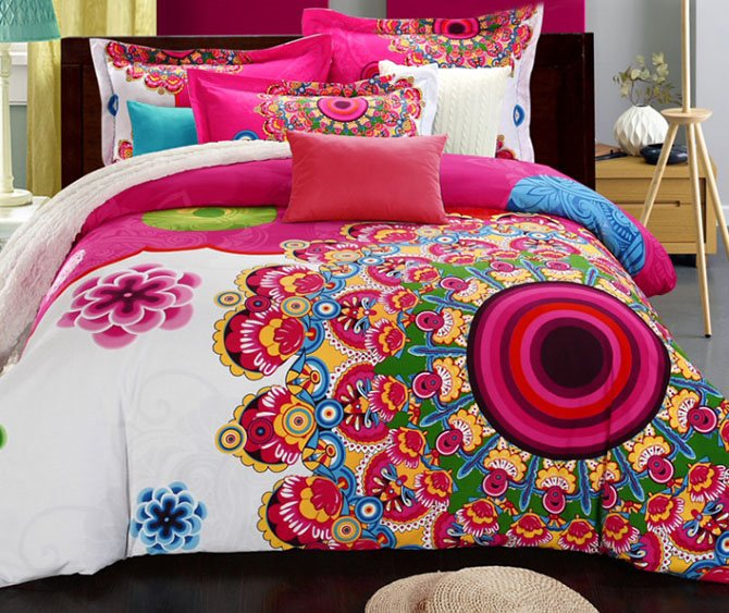 Fancy Graceful Big Flowers Print Pure Cotton 4-Piece Duvet Cover Sets